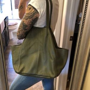 REAL LEATHER Olive Green Tote Purse